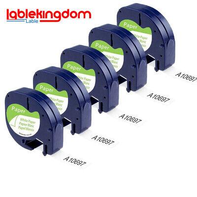 2x 91220 Etikettenband Schwarz auf Weiß Papier kompatibel Dymo LetraTag 12mm 4m