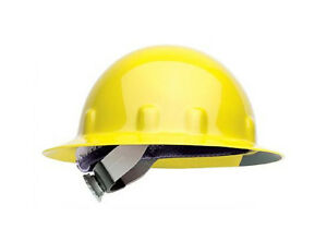 FIBRE-METAL-E1RW02A000-FULL-BRIM-HARD-HAT-Yellow-Hard-Hat-w-Ratchet-Suspension