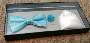 a309281e2bdd Men's APT 9 Bow tie lapel pin & pocket square set new aqua white set ...