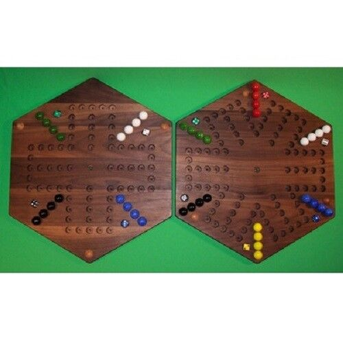 2 GAMES IN 1 Wooden Game Board - Aggravation 6-Player 5-Hole and 4-Player 5-Hole