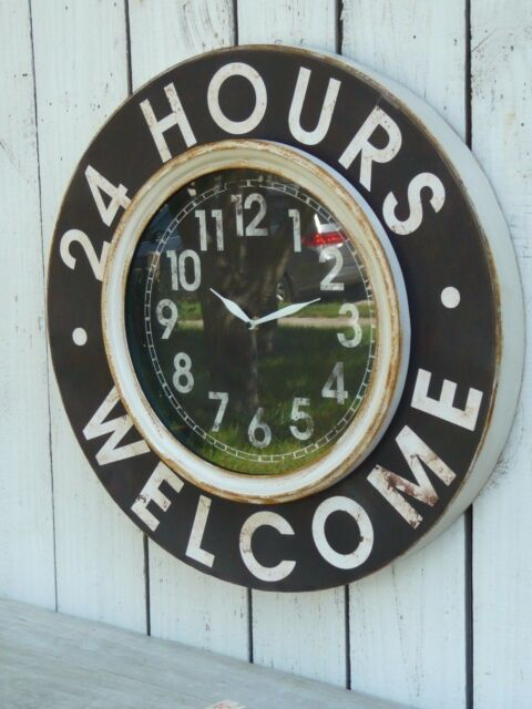 Large metal wall clock 24 HOURS WELCOME french country home/wall decor