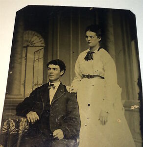 Antique-Victorian-American-Couple-Handsome-Seated-Man-Fashion-Lady-Tintype-Photo