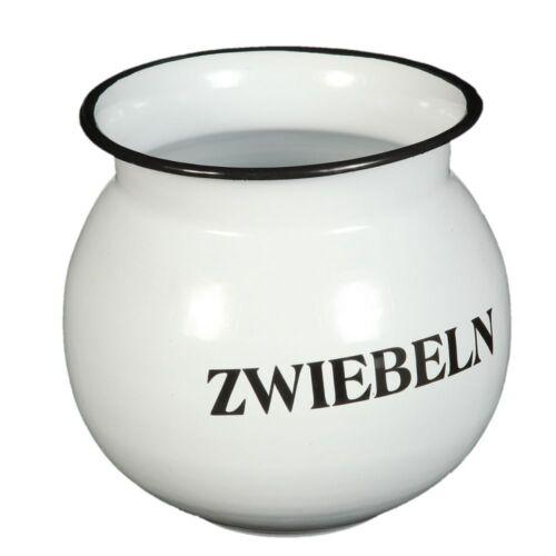 weiß Ø 17 x H16 cm Vintage Topf für Zwiebeln Zwiebeltopf emailliertes Metall