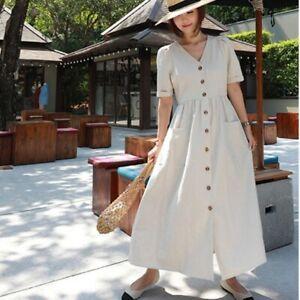 Womens-Linen-Cotton-Dress-V-neck-Long-Belt-Button-Loose-Casual-Fairy-Apricot-New