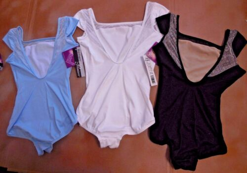 NWT Body Wrappers p863 Capsleeve v back Protech Leotard 3 colors ladies lacemesh