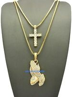 Cross And Praying Hands Necklace Egyptian With 24 And 30 Inch Box Link Chain