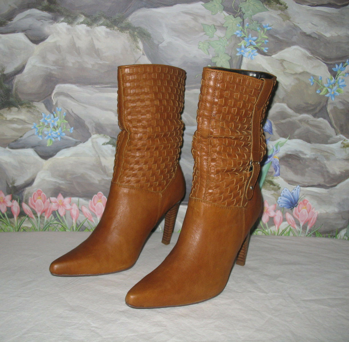 New NANA 'Keiko' Woven Tan Leather w Side Belt Low Calf Boots sz 7.5