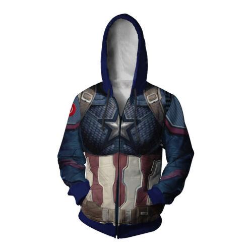 Endgame Hooded Full Zip Sweatshirt Jacket Captain America Hoodie Avengers