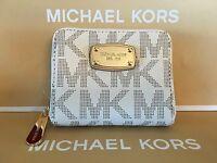 Michael Kors Mk Signature Pvc Zip Bifold Coin Wallet In Vanilla