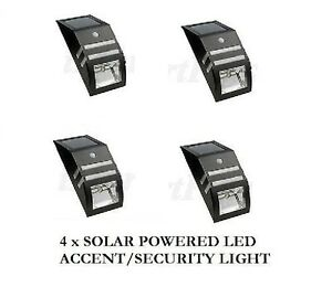 4 X Paradise Solar Powered Led Accent Security Light