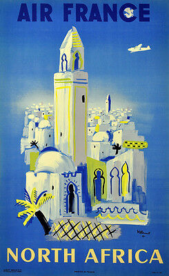 North Africa, 1947 Vintage Air Travel Poster Giclee Canvas Print 20x32