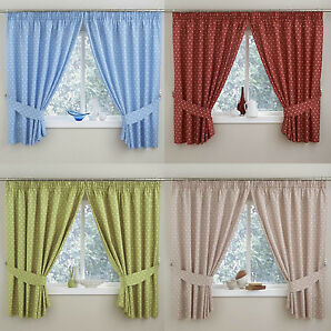 "PAIR POLKA DOT KITCHEN THERMAL CURTAINS 3"" TAPE TOP PENCIL PLEAT MULTI COLOURS"