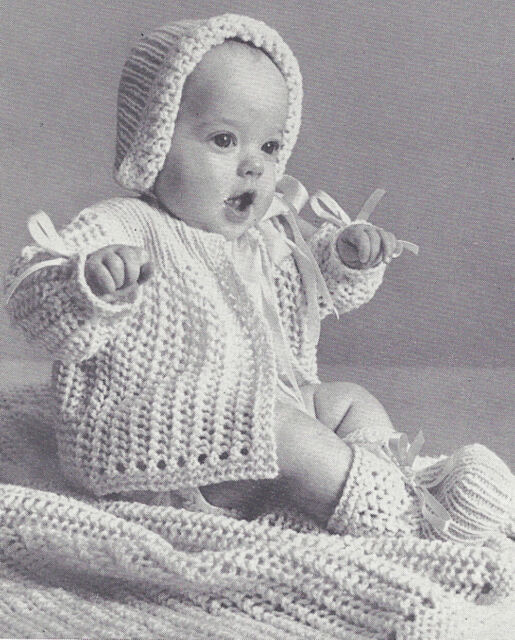 Vintage Crochet PATTERN to make Baby Set Sacque Sweater Bonnet Booties YelFrill