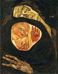 Two Women Embracing Fine Art Print Egon Schiele Reproductions