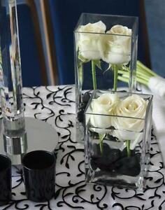 12 pcs clear cube square glass vase wedding centerpiece 3 sizes rh ebay com square glass vases wedding centerpieces milk glass vases wedding centerpieces