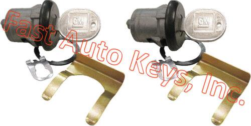 NEW PAIR BUICK GM OEM PAIR DOOR LOCK SET KEYED CYLINDER W//2 OEM GM LOGO KEYS