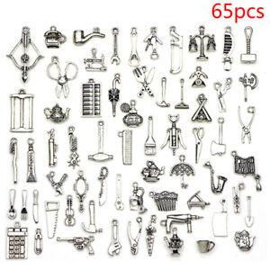 65pcs-MIX-Tibetano-Argento-Ciondoli-Charm-Spacer-Beads-Fai-da-te-Gioielli-Making-CRAF-PQ