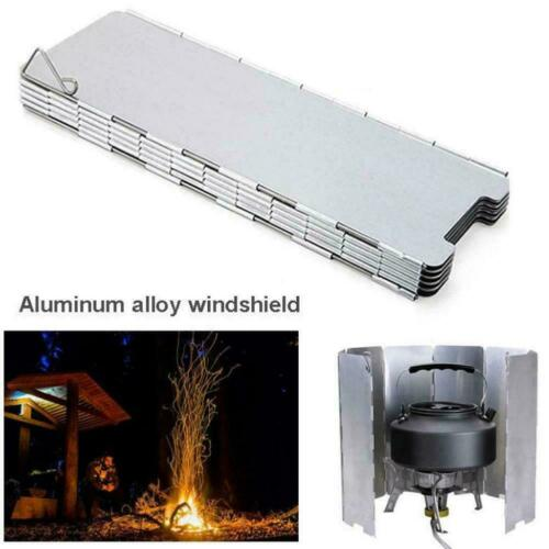 10 Dishes Metal Picnic Gas Stove Wind Shield Folding Camping Outdoor O0K8