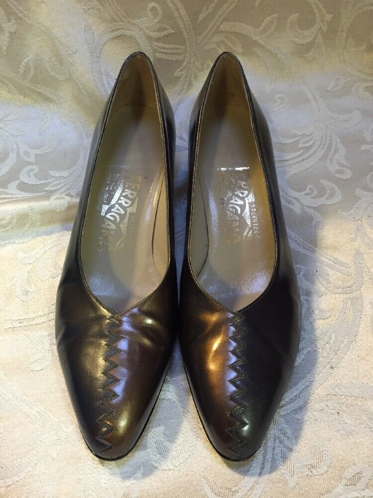 Vtg Salvatore Ferragamo Heel Pump Shoe Metallic 2 Tone Silver Bronze 7.5 AA Gold