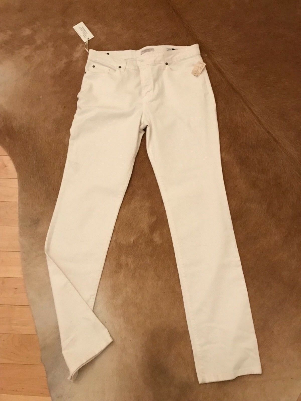 VIZCAINO PREMIUM DENIM WHITE STRAIGHT LEG ORIGINAL RISE STRETCH JEAN SZ 14