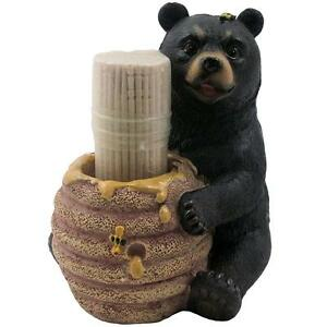 Image Is Loading Toothpick Holder Bear Figurine Kitchen Decor Rustic Cabin