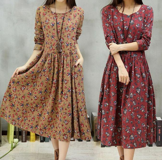 Fashion Women Casual Loose Long Sleeve Floral Cotton Linen Shirt Tunic Mid Dress