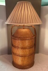 """Other Asian Antiques Honest Vintage Asian Lacquered Hand Woven Bamboo Wedding Basket Table Lamp 35.25"""" Rare Strong Packing Lamps: Electric"""