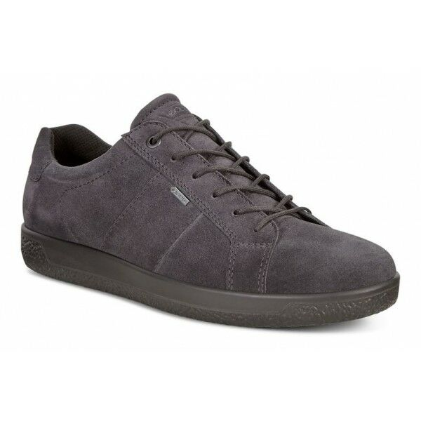 ECCO SOFT 1 Mens Suede Leather Lace Up Casual Low Top Retro Trainers Magnet Grey