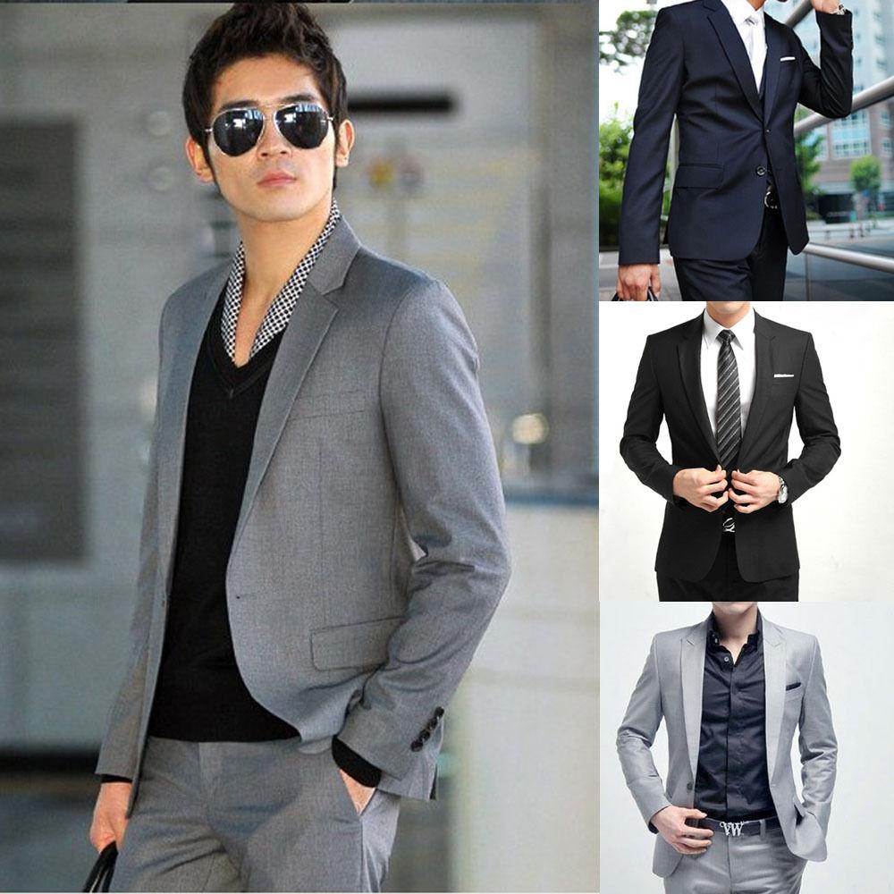 Men's Formal Blazer Business Wedding Slim Suit Pants Outwear Dress Coat Party