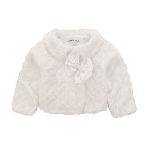 NEW Girls Soft Faux Fur Jacket//Coat 3m-6Yr in White-Pink-Creme