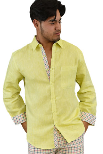 MLS264 S ~ 2XL Mens Bohio 100/% Tropical Linen White Casual Long Sleeve Shirt