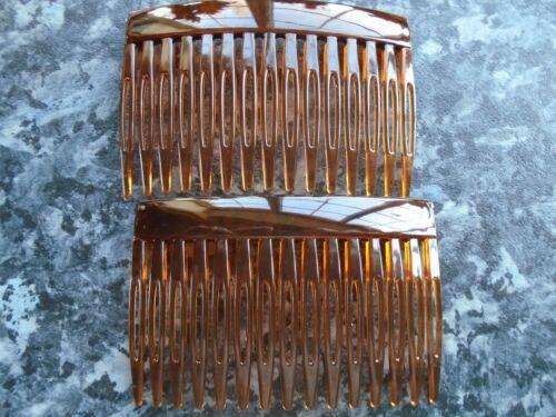 Pack 2 Tort Brown hair combs 7cm plastic budget slides black clear comb grip