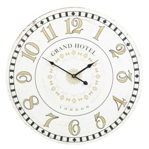 1 of 1 - 60cm Extra Large Round Wooden Wall Clock Vintage Retro Antique Distressed Chic