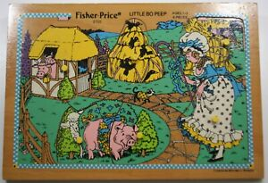 Vintage-Fisher-Price-Children-039-s-WOODEN-PUZZLE-034-Little-Bo-Peep-034-Collectible
