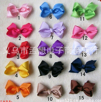 "wholesale 15 baby girl 3"" Boutique Hair Bows clip Alligator Clip Headband Ribbon"