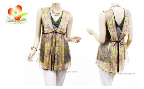Victorian Silk Chiffon Antique Lime Print Pleated Flutter Blouse Shirt Tank Top