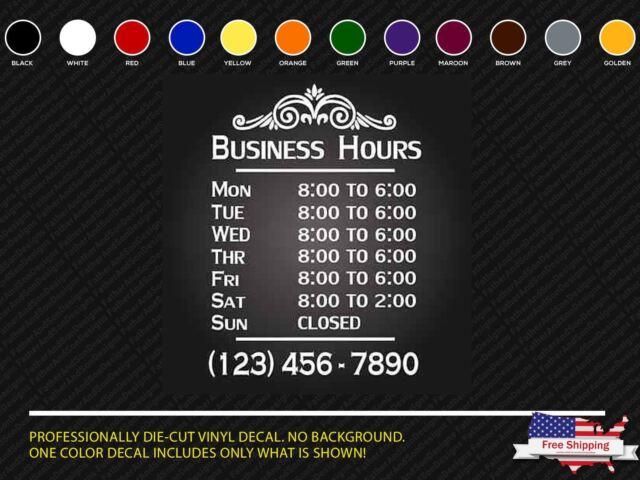 Custom business hours vinyl window decal 12x18 outdoor sticker sign door