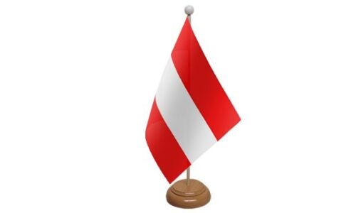 Austria Federal Table Desk Flag With Wooden Base