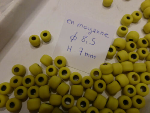 perle vintage lot de 100 perle en verre forme tube jaune mat