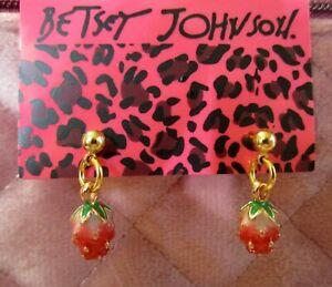 Betsey-Johnson-Strawberry-Earrings-Gold