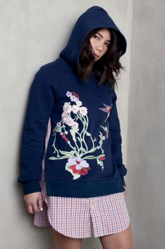Embroidery Bird Shirt Navy S Sweatshirt Dress Hoodie 12 Betina Uk10 Blue qZ7Cwc4