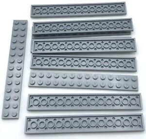 Lego 10 New Light Bluish Gray Plates 2 x 14 Stud Pieces Parts