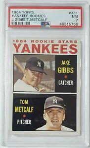1964-Topps-Yankees-Rookies-Jake-Gibbs-Tom-Metcalf-281-PSA-7