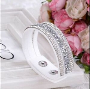 New-Fashion-Crystal-Rhinestone-Leather-Wrap-Wristband-Cuff-Punk-Bracelet-Bangle