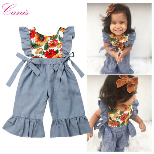 Toddler Kid Baby Girl Clothes Ruffle Sunflowers Romper Wide Pants Outfits Summer