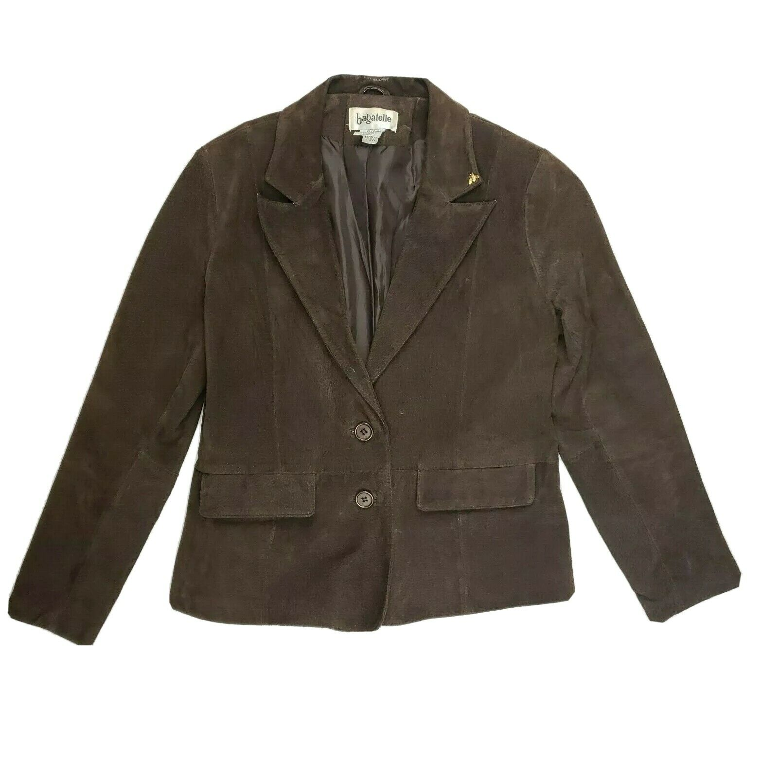 Bagatelle Brown Suede Leather Jacket Coat Blazer Size 8P Petite
