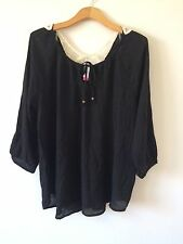 WOMENS BLACK BACK CROCHET LACE PANEL PEASANT BLOUSE TOP SZ XXL