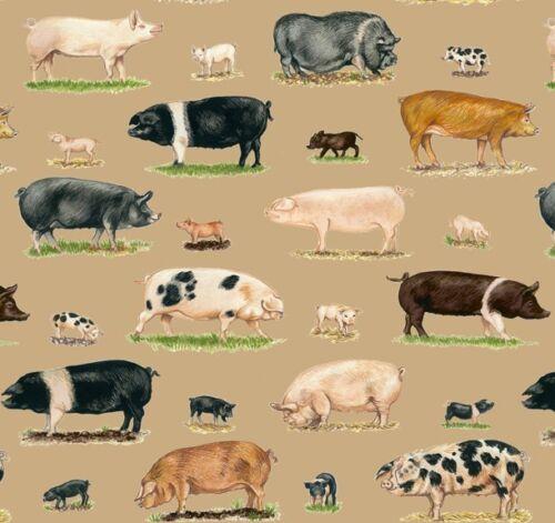 Patchwork tissu Farm Animals porcs COTONNADES animaux patchwork substances Pigs