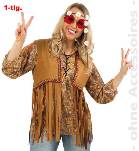 Weste Hippieweste Herren Hippie Fransenweste Blumenkind Herrenkostüm