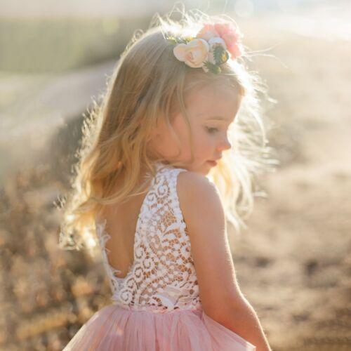 BELLE DENTELLE joli dos ouvert Peach Fleur Rose Filles Occasion Robe de soirée